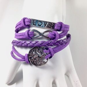 Jewelry - Purple Leather Wrap Bracelet